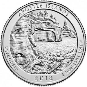 25 центов 42-ой парк Национальные озерные побережья островов Апостол