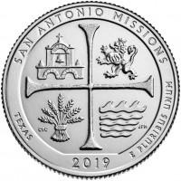 25 центов 49-ый парк Национальный исторический парк Миссии Сан-Антонио