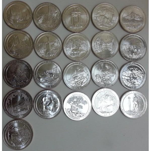 Набор монет парки сша старинные угольные утюги
