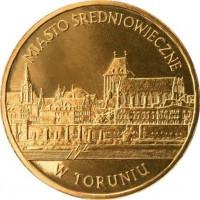 Средневековый город Торунь (2 злотых, Польша, 2007 года)