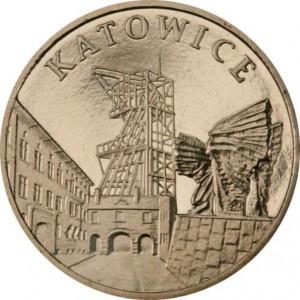 Города Польши: Катовице (2 злотых, Польша, 2010 года)