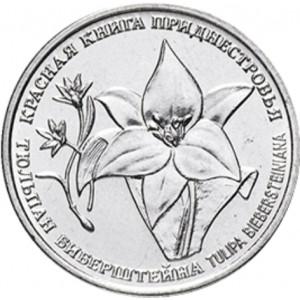 Тюльпан Биберштейна (1 рубль, Приднестровье, 2019 года)