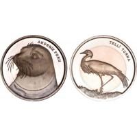 Белобрюхий тюлень и Журавль-красавка (1 лира, Турция, 2013 года)
